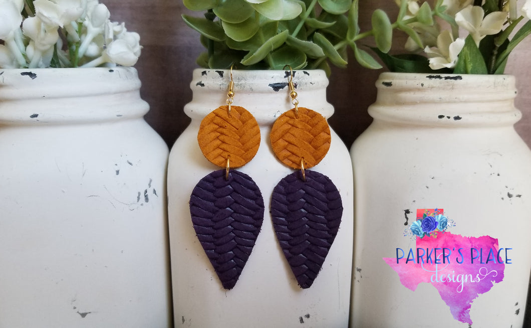 Yellow and Purple Braided Dangles