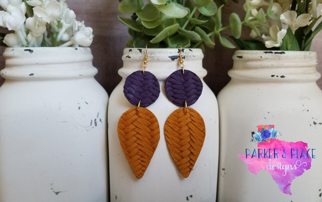 Purple and Yellow Braided Dangles