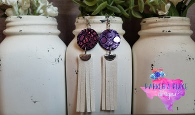 Purple and White Fringe Dangles