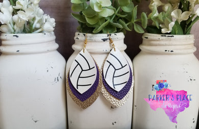 Volleyball over Purple and Gold Leaf