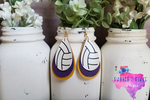 Volleyball over Purple and Yellow Teardrops