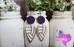 Purple and Gold Volleyball Dangles