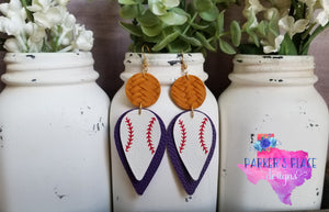 Purple and Yellow Baseball Dangles