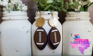Purple and Gold Football Dangles