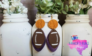 Purple and Yellow Football Dangles