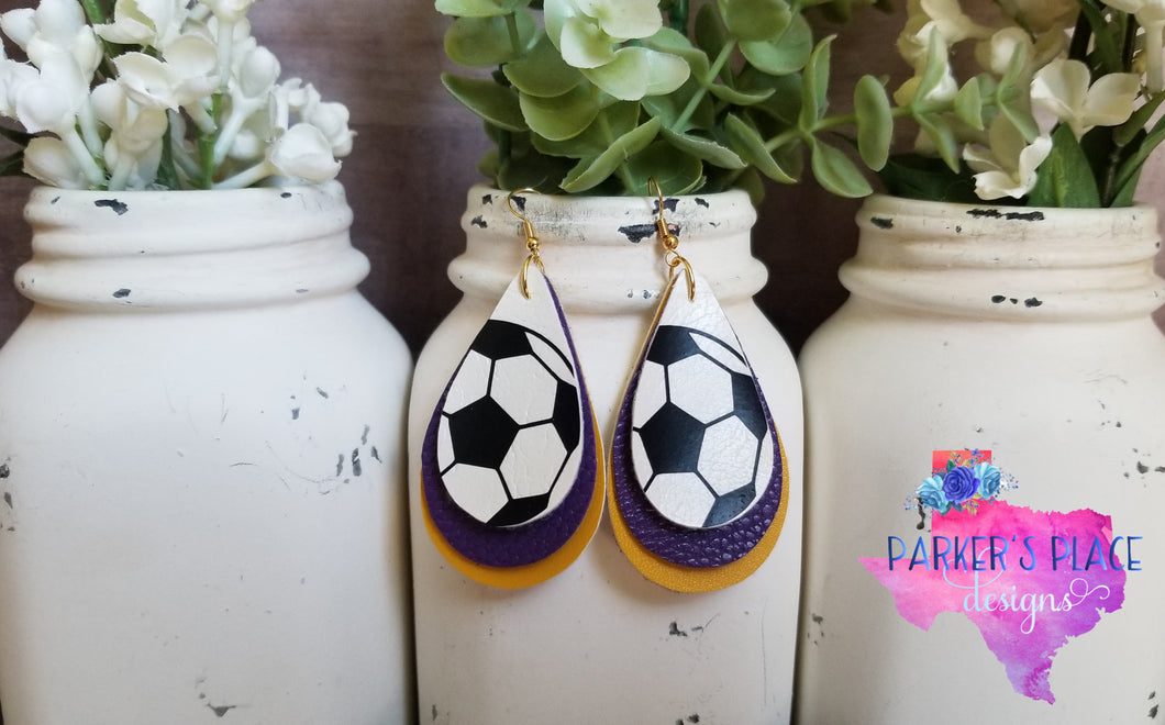 Soccer, Purple, Yellow Teardrops