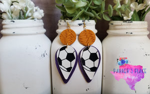 Purple and Yellow Soccer Dangles