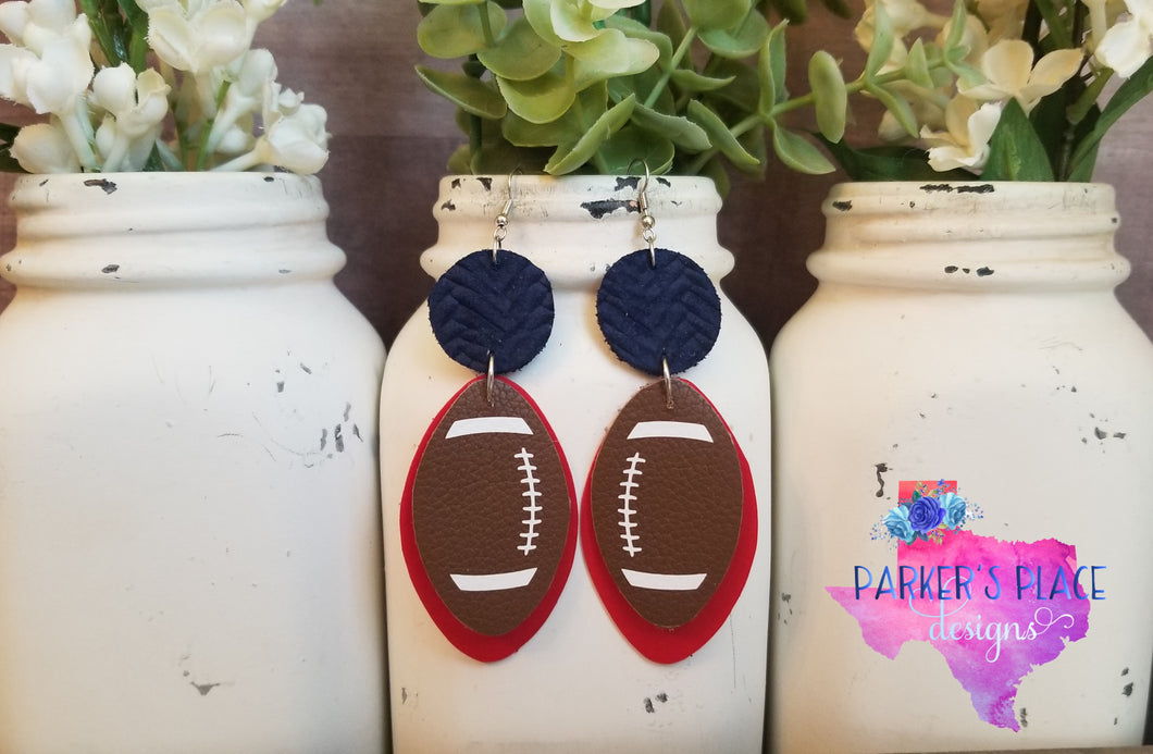 Navy and Red Football Dangles