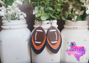 Orange and Navy Football Leaf