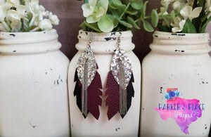 Silver, Maroon and Black Layered Leaf