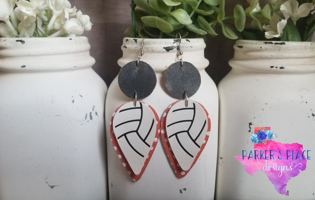 Volleyball, Orange and Black Dangles