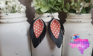 Black and Orange Polkadot Pinched Feathers