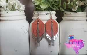 Burnt Orange Cork Dangles