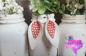White and Orange Polkadot Pinched Feathers