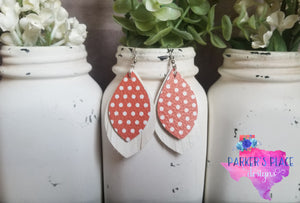 Burnt Orange Polkadot and White Fringed Petal