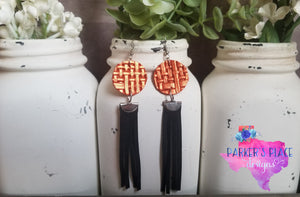 Burnt Orange and Black Fringe Dangles