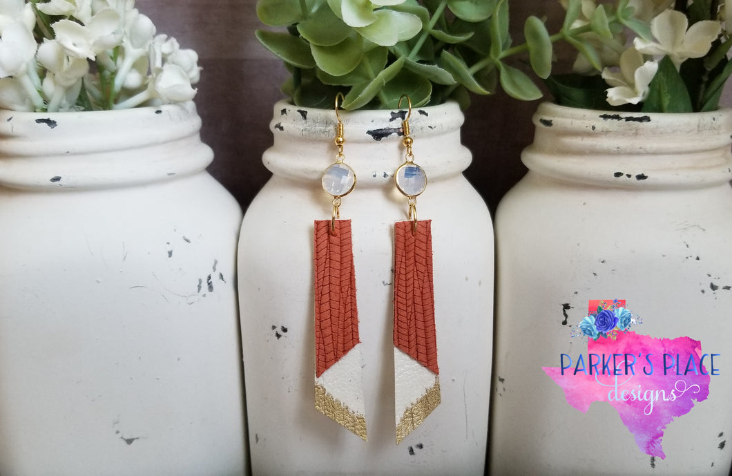 Burnt Orange and White Dangles