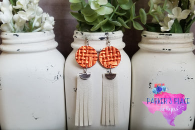 Burnt Orange and White Fringe Dangles