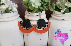 Black, Leopard, and Burnt Orange Half Moon