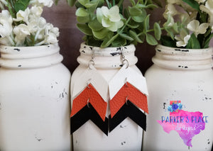 White, Orange, Black Chevron