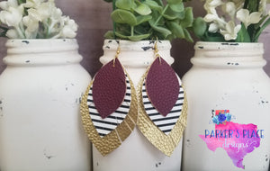 Maroon, Stripes, and Gold Feathered Leaf