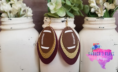 Gold and Maroon Football Leaf