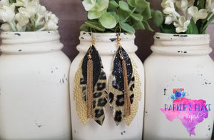 Leopard, Gold, and Black Layered Leaf