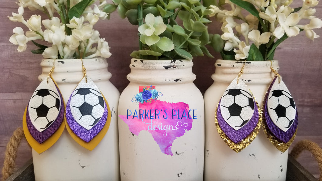 Soccer, Purple, Gold Petal