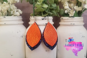 Orange and Navy Glitter Petal