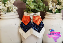 Orange, Navy, White Fringe