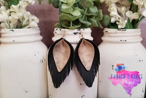 Black and Cream Fringed Leaf - Stock Sale