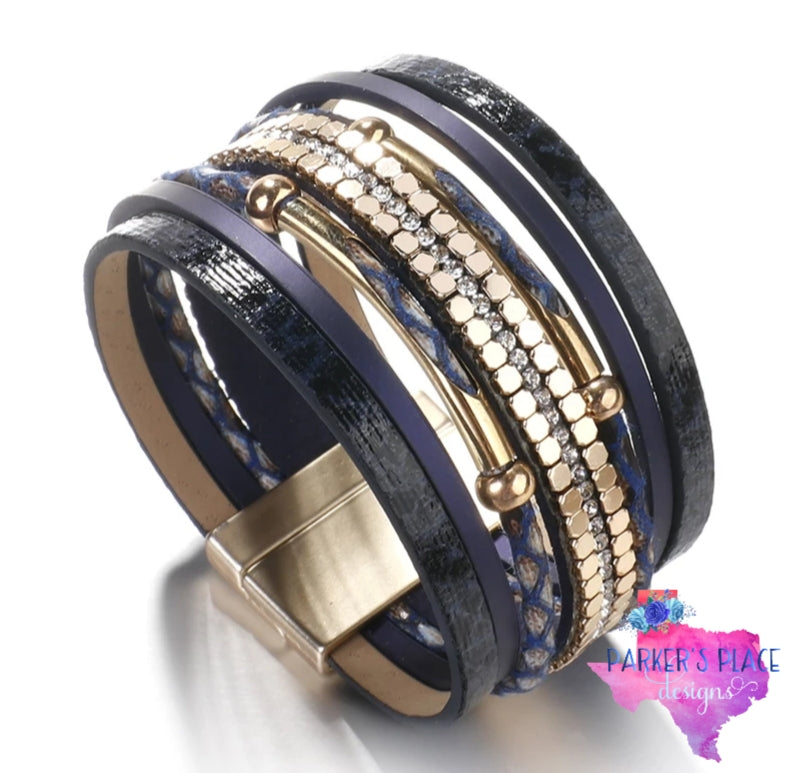 Navy and Gold Wrap Bracelet
