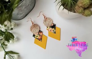 Yellow Floral Geo Dangles