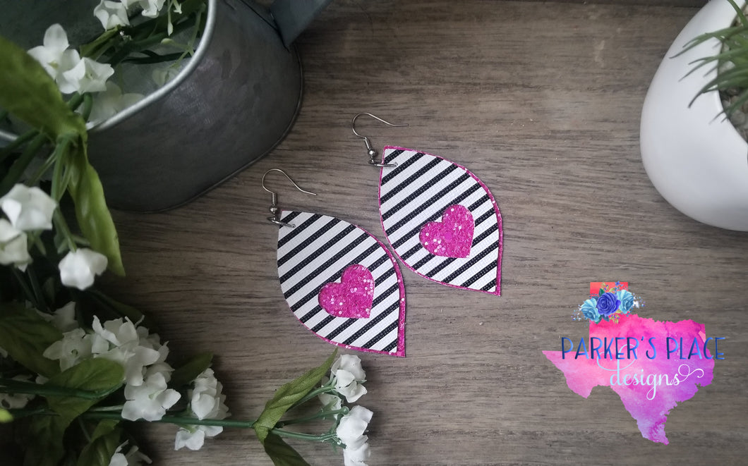 Stripes and Pink Heart Leaf