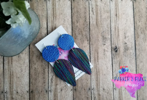 Blue and Multi Stripe Dangles