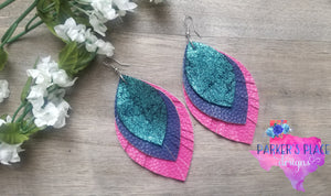 Teal, Navy, and Pink Feathered Leaf