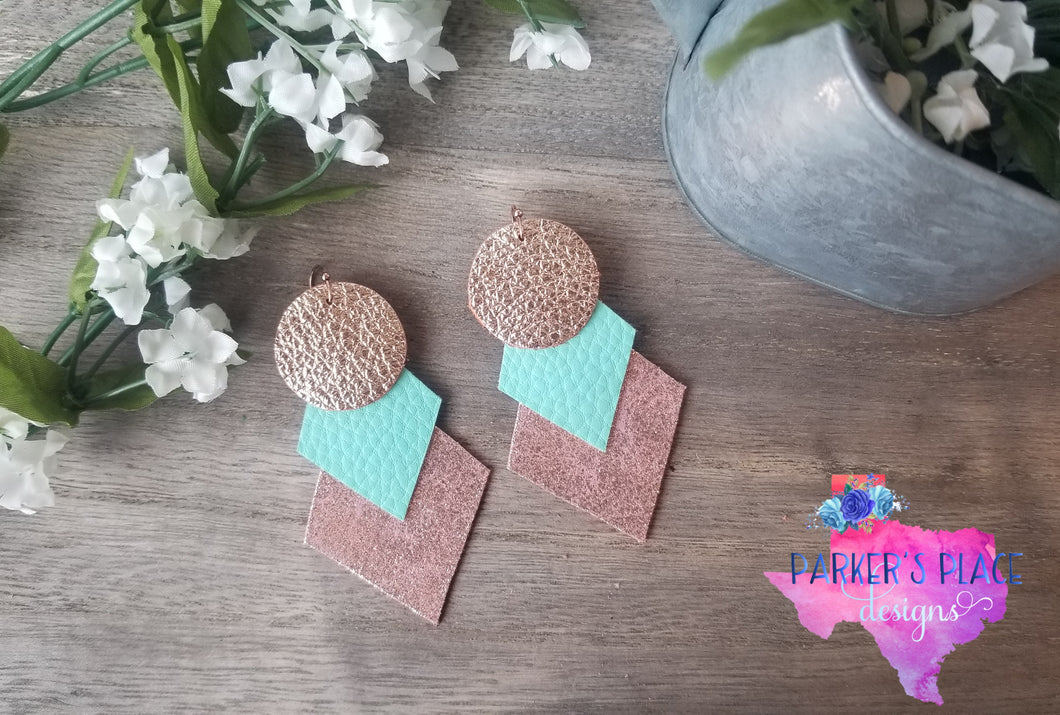 Rose Gold and Mint Geo Dangles