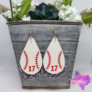 Baseball over Grey Glitter Teardrops