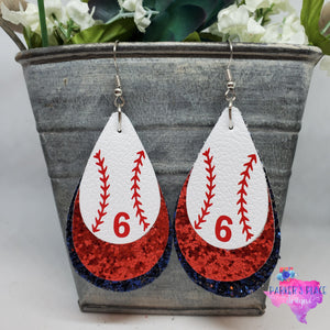 Baseball, Red, Navy Teardrops