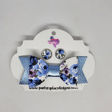 Blue Floral Bow and Studs