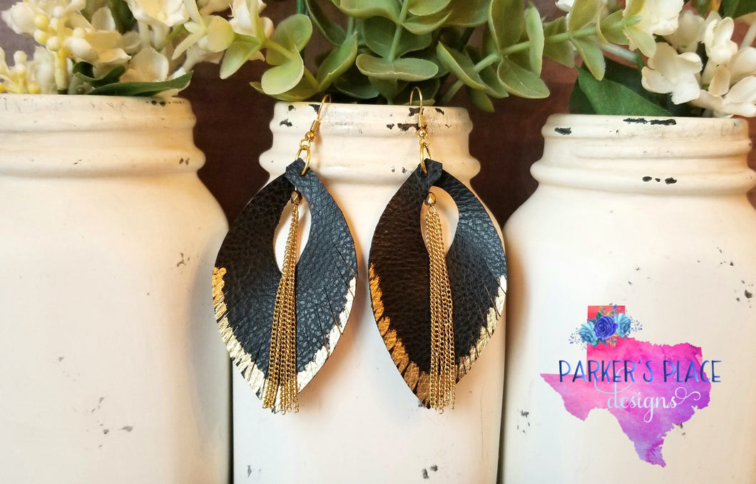 Gold Dipped Black Feathers with Chains