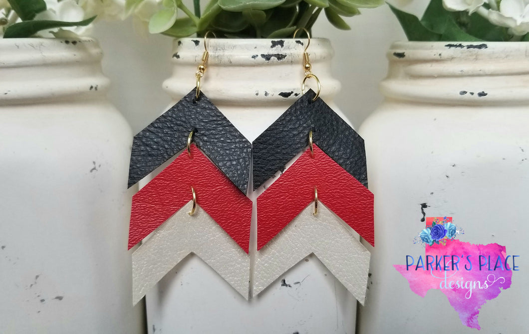 Black, Red, White Chevron