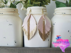 Gold Dipped Pink Feathers with Chains