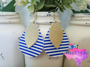 Gold Leaf over Blue and White Striped Teardrop