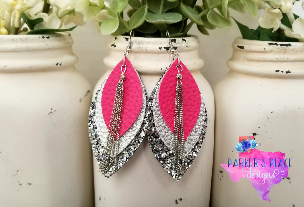 Pink and Silver Leaf