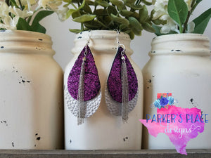 Purple Silver Teardrops