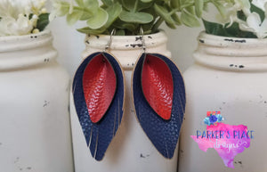 Red over Navy Pinched Feathers