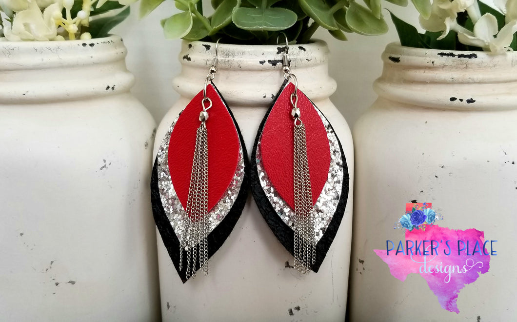 Red, Silver, Black Leaf