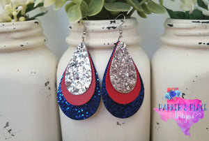 Silver, Red, and Royal Blue Teardrops