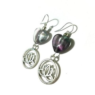 Fluorite Heart Lotus Earrings